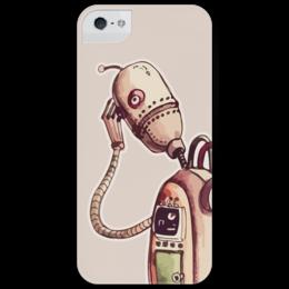 """Чехол для iPhone 5 глянцевый, с полной запечаткой """"грустный робот """" - грусть, робот, robot, sorrow, sadness"""