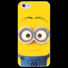 """Чехол для iPhone 5 глянцевый, с полной запечаткой """"Миньон"""" - жёлтый, миньон, гадкий я, minion"""