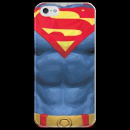 """Чехол для iPhone 5 глянцевый, с полной запечаткой """"Супермен (Superman)"""" - комиксы, супермэн, dc, dc comics, супс"""