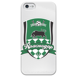 """Чехол для iPhone 5 глянцевый, с полной запечаткой """"Краснодар"""" - краснодар, футбольный клуб, fc krasnodar"""