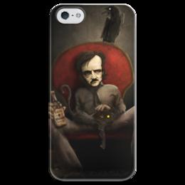 """Чехол для iPhone 5 глянцевый, с полной запечаткой """"Эдгар По"""" - череп, готика, арт, смерть, эдгар по"""
