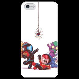 """Чехол для iPhone 5 глянцевый, с полной запечаткой """"Comics Art Series: Spider"""" - рисунок, супергерои, паук, superhero, spider"""