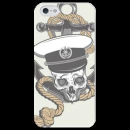 """Чехол для iPhone 5 глянцевый, с полной запечаткой """"Череп"""" - череп, skull, sailor, моряк, anchor, якорь"""