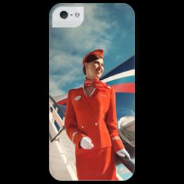 """Чехол для iPhone 5 глянцевый, с полной запечаткой """"Аэрофлот"""" - самолет, aeroflot, авиа, аэрофлот, авиация, стюардесса, airlines"""