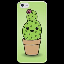 """Чехол для iPhone 5 глянцевый, с полной запечаткой """"Милый кактус"""" - арт, цветок, кактус"""