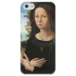 """Чехол для iPhone 5 глянцевый, с полной запечаткой """"Портрет молодой женщины"""" - картина, креди"""