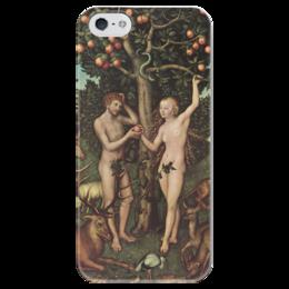 "Чехол для iPhone 5 глянцевый, с полной запечаткой ""Адам и Ева (Лукас Кранах Старший)"" - картина, библия, кранах"