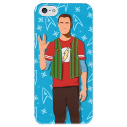 """Чехол для iPhone 5 глянцевый, с полной запечаткой """"Шелдон Купер"""" - новый год, the big bang theory, рождество, теория большого взрыва, шелдон купер, sheldon cooper"""