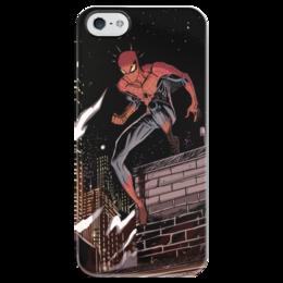 """Чехол для iPhone 5 глянцевый, с полной запечаткой """"Человек-паук (Spider-man)"""" - комиксы, spider-man, марвел, человек-паук, питер паркер"""