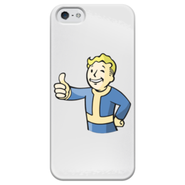"""Чехол для iPhone 5 глянцевый, с полной запечаткой """"Fallout Case"""" - классный, прикольный, fallout, vault boy, vaultboy, волт-бой"""