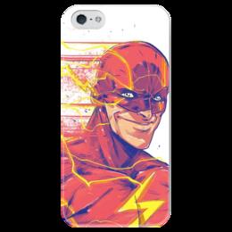 """Чехол для iPhone 5 глянцевый, с полной запечаткой """"Флэш (Flash)"""" - flash, комиксы, dc, dc comics, флэш"""