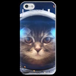 """Чехол для iPhone 5 глянцевый, с полной запечаткой """"Котосмонавт"""" - кот, космос, животное, костюм"""