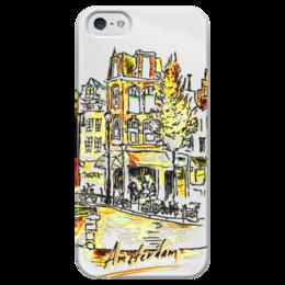 """Чехол для iPhone 5 глянцевый, с полной запечаткой """"Амстердам"""" - amsterdam, coffee, велосипед, амстердам"""