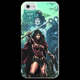 """Чехол для iPhone 5 глянцевый, с полной запечаткой """"Чудо-Женщина (Wonder Woman)"""" - комиксы, dc comics, чудо-женщина, justice league, лига справедливости"""