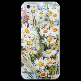 """Чехол для iPhone 5 глянцевый, с полной запечаткой """"Букет ромашек."""" - арт, лето, цветы, природа, искусство, ромашки, живопись, цветение, летнее, полевые цветы"""