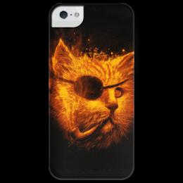 """Чехол для iPhone 5 глянцевый, с полной запечаткой """"Огненный кот"""" - кот, огонь, cat, fire, smoking, iphone5"""