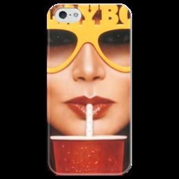 """Чехол для iPhone 5 глянцевый, с полной запечаткой """"Playboy Очки"""" - playboy, плейбой, плэйбой"""