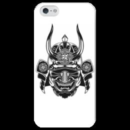 "Чехол для iPhone 5 глянцевый, с полной запечаткой ""Самурай 3"" - маска, самурай, япония"