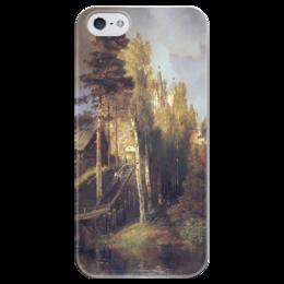"""Чехол для iPhone 5 глянцевый, с полной запечаткой """"Монастырские ворота"""" - картина, саврасов"""