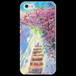 """Чехол для iPhone 5 глянцевый, с полной запечаткой """"Итальянский полдень"""" - кот, цветы, живопись, дворик, полдень"""