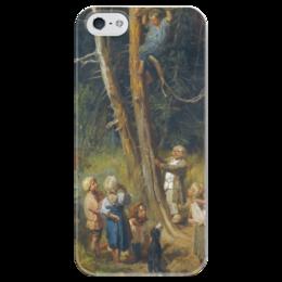 """Чехол для iPhone 5 глянцевый, с полной запечаткой """"Дети разоряют гнёзда в лесу"""" - картина, васнецов"""