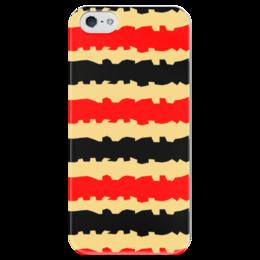 """Чехол для iPhone 5 глянцевый, с полной запечаткой """"Полоски с рванными краями"""" - полоска, черный, красный, бежевый, рванные"""