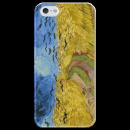 """Чехол для iPhone 5 глянцевый, с полной запечаткой """"Пшеничное поле с воронами"""" - картина, ван гог"""