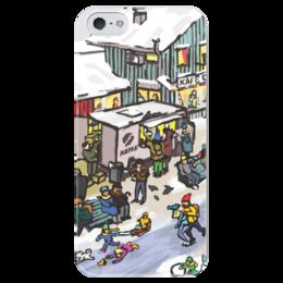 """Чехол для iPhone 5 глянцевый, с полной запечаткой """"Winter town"""" - новый год, зима, коньки, скандинавия, зимний город"""