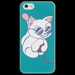 """Чехол для iPhone 5 глянцевый, с полной запечаткой """"Котенок с клубком"""" - кот, кошка, котенок, очки, клубок"""