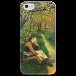 """Чехол для iPhone 5 глянцевый, с полной запечаткой """"Весна (картина Башкирцевой)"""" - картина, башкирцева"""
