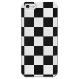 """Чехол для iPhone 5 глянцевый, с полной запечаткой """"Чёрно-белая клетка"""" - стиль, клетка, минимализм, чёрное и белое"""