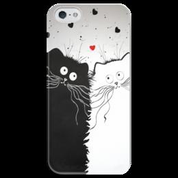 """Чехол для iPhone 5 глянцевый, с полной запечаткой """"Кот и Кошка"""" - кот, кошка, рисунок, чёрное и белое"""