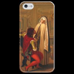 """Чехол для iPhone 5 глянцевый, с полной запечаткой """"Любовь или долг (Love or Duty)"""" - картина, кастаньола"""