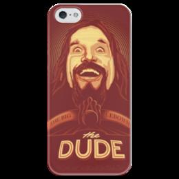 """Чехол для iPhone 5 глянцевый, с полной запечаткой """"the Dude"""" - чувак, dude, большой лебовски, big lebowski"""