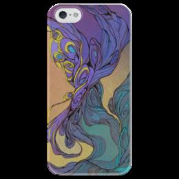 """Чехол для iPhone 5 глянцевый, с полной запечаткой """"Волшебный дым"""" - арт, purple, smoke, авторский дизайн"""