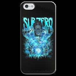 """Чехол для iPhone 5 глянцевый, с полной запечаткой """"Sub-Zero (Mortal Kombat)"""" - art, ниндзя, синий, боец, mortal kombat, sub-zero"""