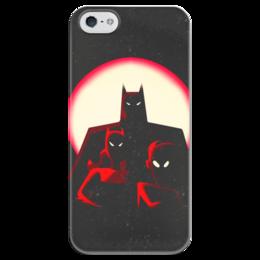 """Чехол для iPhone 5 глянцевый, с полной запечаткой """"Бэтмен"""" - batman, бэтмен, супергерой, летучая мышь, брюс уэйн"""