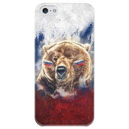 """Чехол для iPhone 5 глянцевый, с полной запечаткой """"Русский Медведь"""" - футбол, медведь, россия, флаг, триколор"""