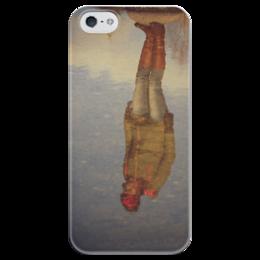 """Чехол для iPhone 5 глянцевый, с полной запечаткой """"отражение"""" - арт, девушка, отражение"""