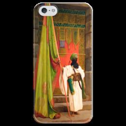 """Чехол для iPhone 5 глянцевый, с полной запечаткой """"Флаг Пророка (Жан-Леон Жером)"""" - картина, жером"""
