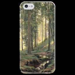 """Чехол для iPhone 5 глянцевый, с полной запечаткой """"Ручей в лесу"""" - картина, шишкин"""