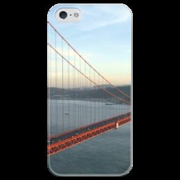 """Чехол для iPhone 5 глянцевый, с полной запечаткой """"San Francisco Bridge"""" - мост, bridge, san francisco, sf, сан франциско"""