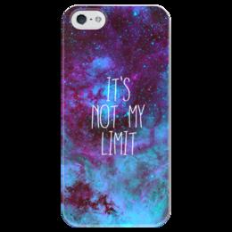 """Чехол для iPhone 5 глянцевый, с полной запечаткой """"It's not my limit"""" - надпись, космос, бесконечность"""
