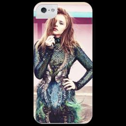 """Чехол для iPhone 5 глянцевый, с полной запечаткой """"Хлоя Морец"""" - в подарок, хлоя морец, chloë moretz, actress"""