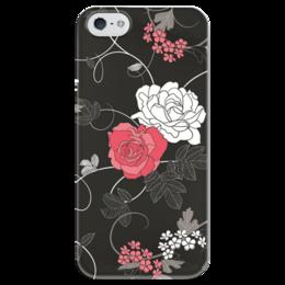 """Чехол для iPhone 5 глянцевый, с полной запечаткой """"Красная и белая розы"""" - цветы, белое, красное, розы"""