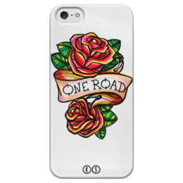 "Чехол для iPhone 5 глянцевый, с полной запечаткой ""One road"" - rose, tattoo, роза, tm kiseleva, одна дорога"