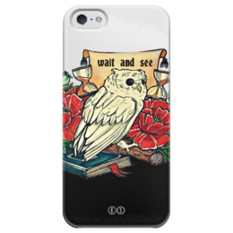 """Чехол для iPhone 5 глянцевый, с полной запечаткой """"Wait and see 5"""" - цветы, сова, филин, время, мудрость, мак, перо, owl, tm kiseleva, wisdom"""