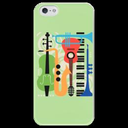 """Чехол для iPhone 5 глянцевый, с полной запечаткой """"Музыкальные инструменты"""" - музыка, гитара, скрипка, инструменты, саксафон"""