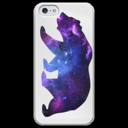 """Чехол для iPhone 5 глянцевый, с полной запечаткой """"Space animals"""" - space, bear, медведь, космос, астрономия"""