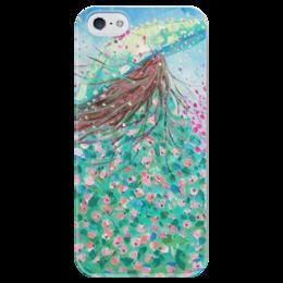 """Чехол для iPhone 5 глянцевый, с полной запечаткой """"Красавица"""" - весна, фантазия, spring, валерия меценатова"""